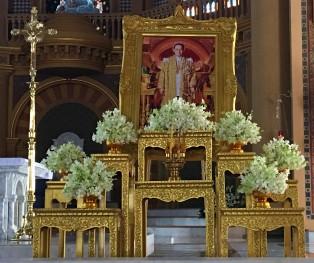 Shrine to King Bhumibol Adulyadej at the Assumption Cathedral, Bangkok