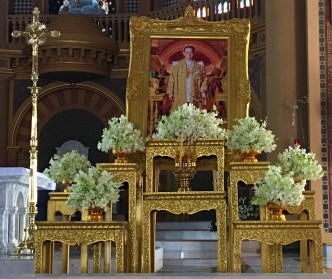 Shrine to King Bhumibol Adulyadej at the Assumption Cathedral, Bangkok