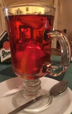 Hot cherry brandy with lemon