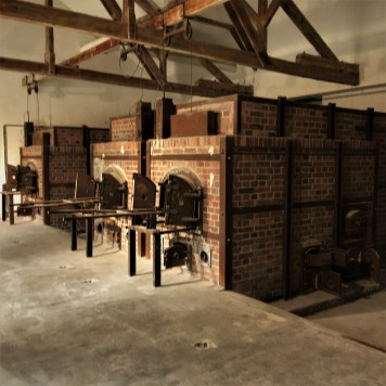 Some prisoners were executed by hanging from the beams above, then swung straight into the chambers