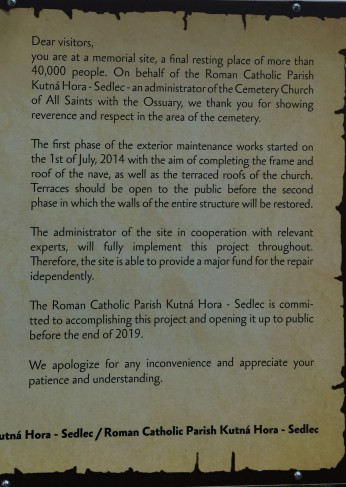 Renovations on Church of All Saints, Sedlec expected to be completed in 2019